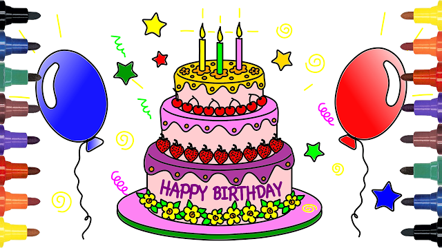 Terrific Video For Kids And Drawing Coloring Cake Drawing Birthday Funny Birthday Cards Online Alyptdamsfinfo