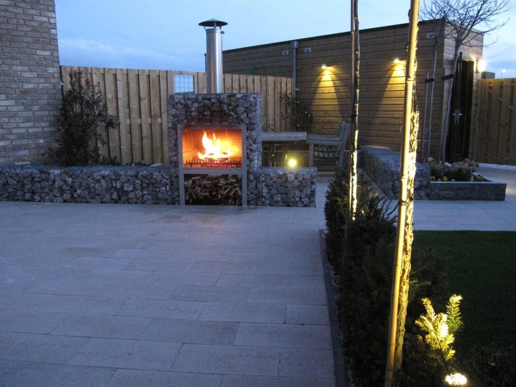 Tuin Open Haard : Strak balkon en patio een huiskamer buiten stoop tuinen