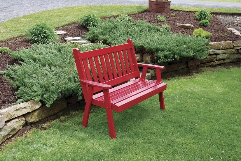 Amish Pine Wood Traditional English Garden Bench | English gardens