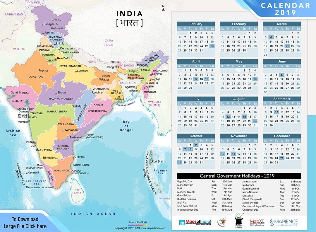 Year 2019 Calendar Public Holidays In India In 2019 Make It