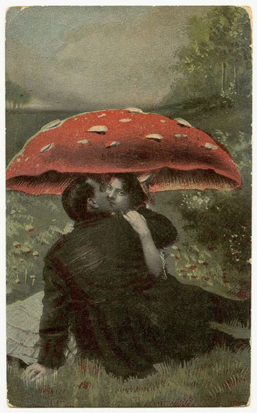 Kissing under the mushroom cap.
