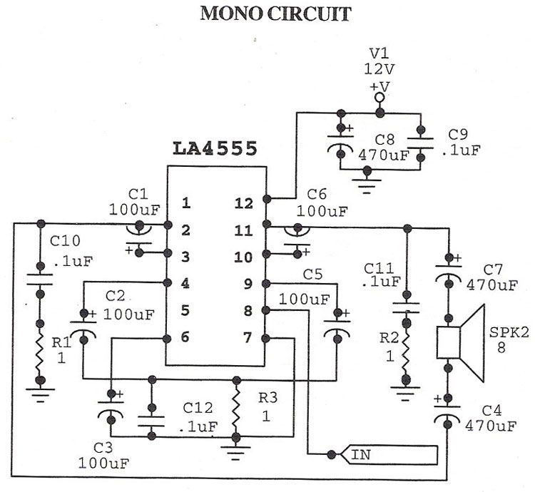 Stereo circuit and mono circuit are given in schematic .LA