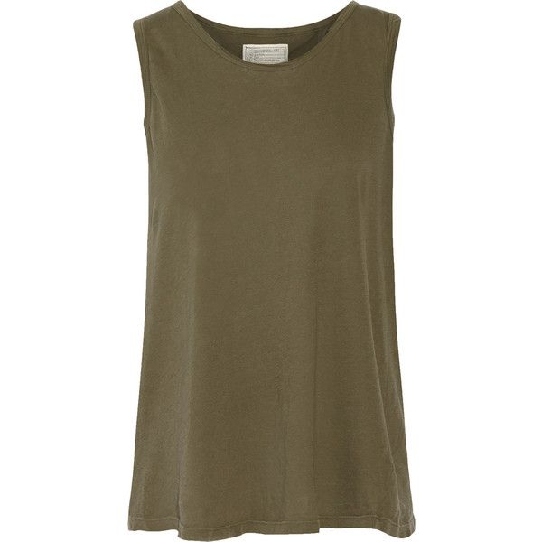 Current/Elliott Split-back cotton-jersey tank ($49) ❤ liked on Polyvore featuring tops, army green, army green tank top, army tank, brown tank, brown jersey and olive green tank top