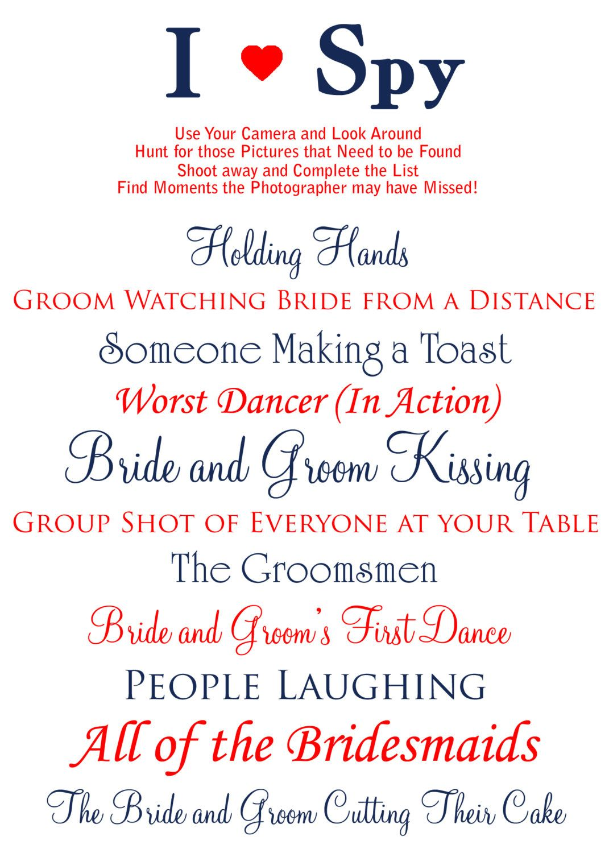 custom printable i spy wedding photos card by stacecadetdesigns