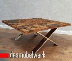 Massivholz Recycling Holz Antik Look Couchtisch Mit Chromfüßen