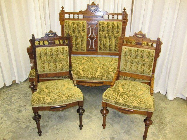 Eastlake Couch | Mint Antique Eastlake Sofa With 2 Matching Chairs   For  Sale