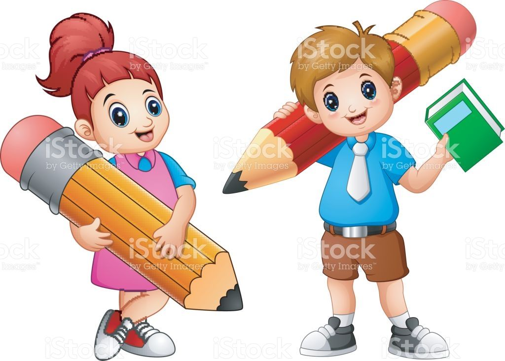Cartoon Childrens Holding A Pencil Vector Id696499812 1024732