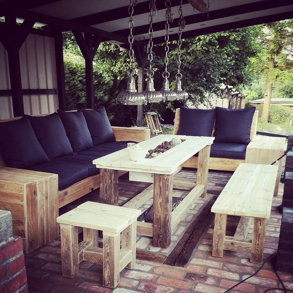 details zu 1m rundbohlen sitzgarnitur tisch 2 b nke biergarten sitzgruppe parkbank holzbank. Black Bedroom Furniture Sets. Home Design Ideas