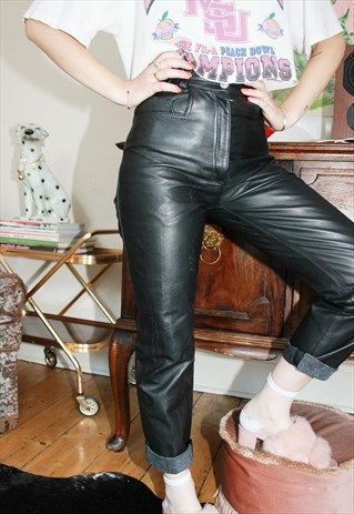 0553ece0 VINTAGE 80S HIGHWAISTED LEATHER TROUSERS | ✨Outfits✨ in 2019 | 80s ...