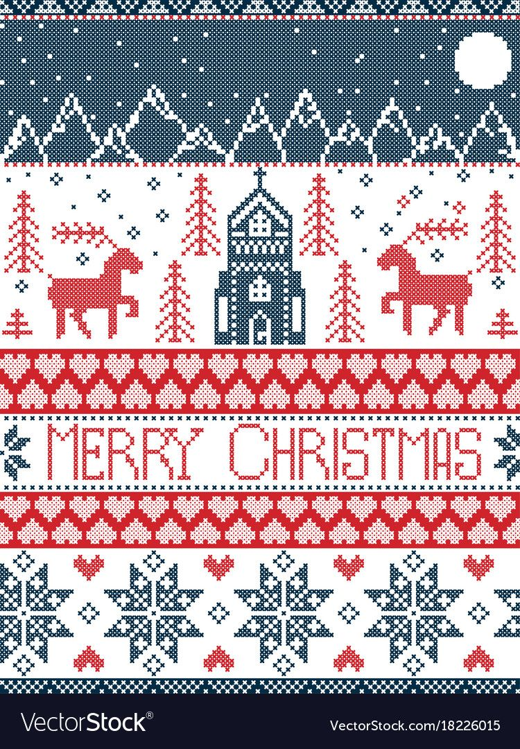 Nordic Style Merry Christmas Pattern In Red And White Including Christmas Cross Stitch Patterns Free Scandinavian Cross Stitch Cross Stitch Patterns Christmas