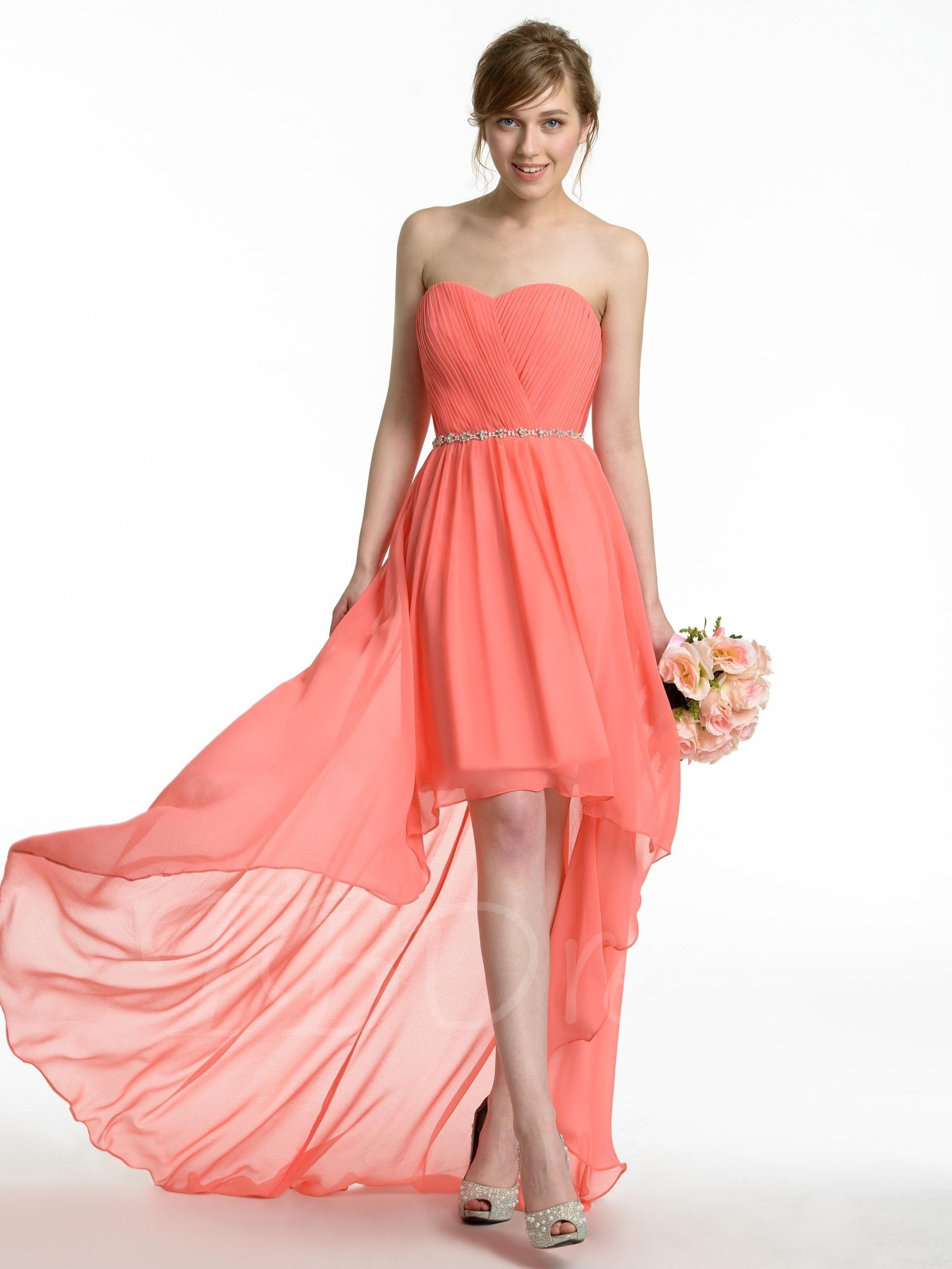 Sweetheart beading composite silk asymmetry highlow bridesmaid