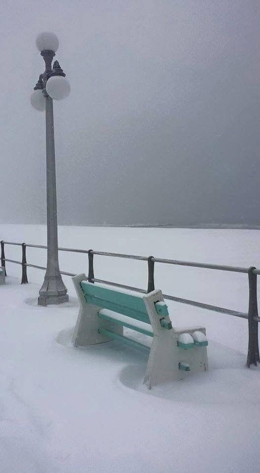 The Boardwalk In Wintertime Snowstorms Ice Pinterest Ocean