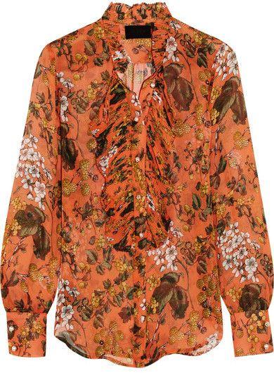 J.Crew - Collection Ruffled Printed Silk-chiffon Blouse - Orange