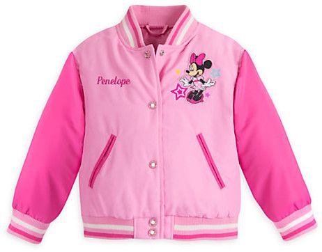 Minnie Mouse Varsity Jacket for Girls - Pink - Personalizable Affiliate Link