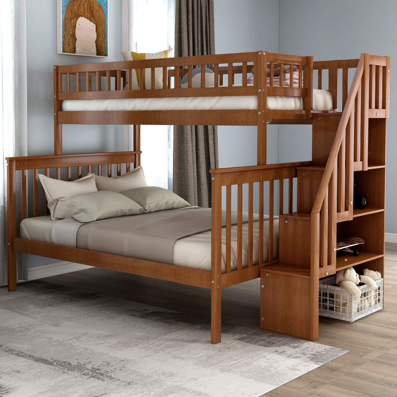 Euroco Twin Over Full Bunk Bed With Stairs And Storage For Kids Multiple Colors Walmart Com Cool Bunk Beds Bunk Bed With Trundle Modern Bunk Beds Twin over full bunk beds for sale