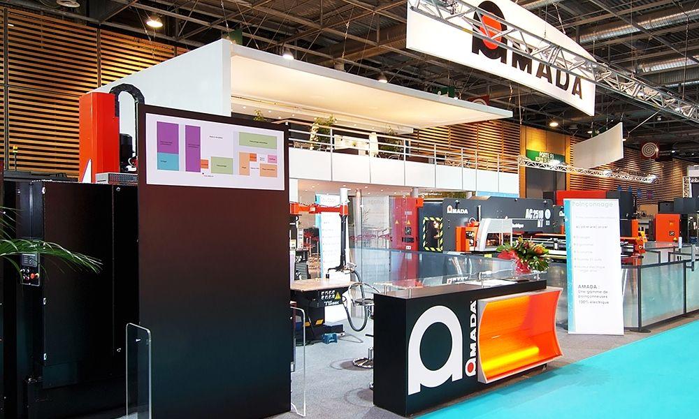 Exhibition stand amada salon de l 39 industrie paris 244m2 exhibition stands pinterest - Salon de l industrie paris ...