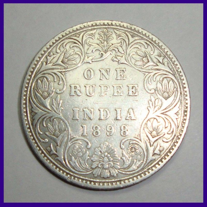 Coins C 1898 Victoria Empress One Rupee C 1 B Incuse Silver Coin Of British India Silver Coins Coins Rare Coin Values