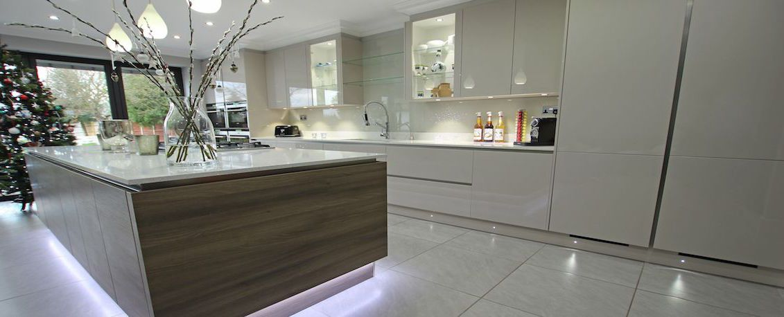 taupe coloured high gloss contemporary kitchen cupboards Google