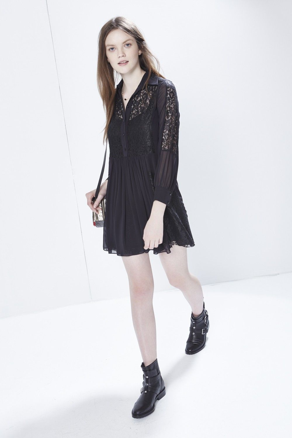 rock dress tonal lace panels add textural dimension to this