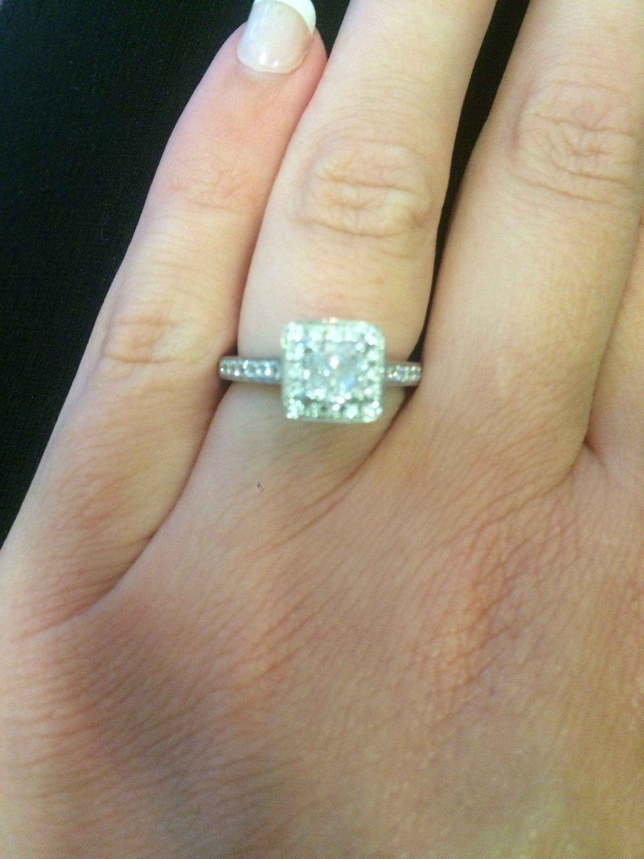 Cushion cut diamond ring with diamond halo stunning ring