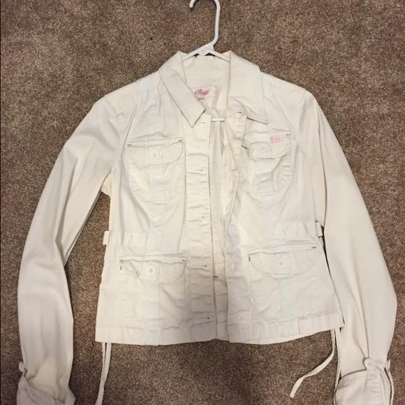 White jacket..super cute! Jean style white jacket worn on a couple times. Size small in great shape Jackets & Coats