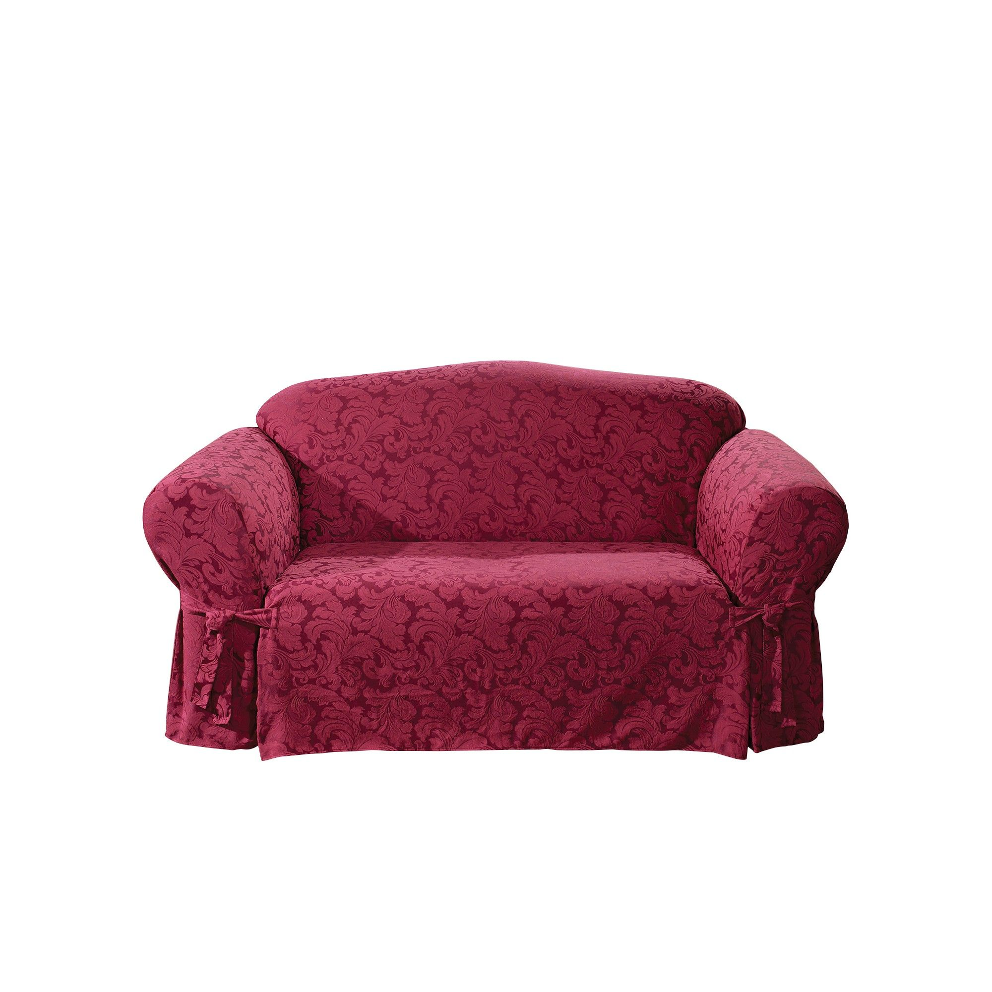 Scroll Loveseat Slipcover Burgundy (Red) - Sure Fit | Products ...