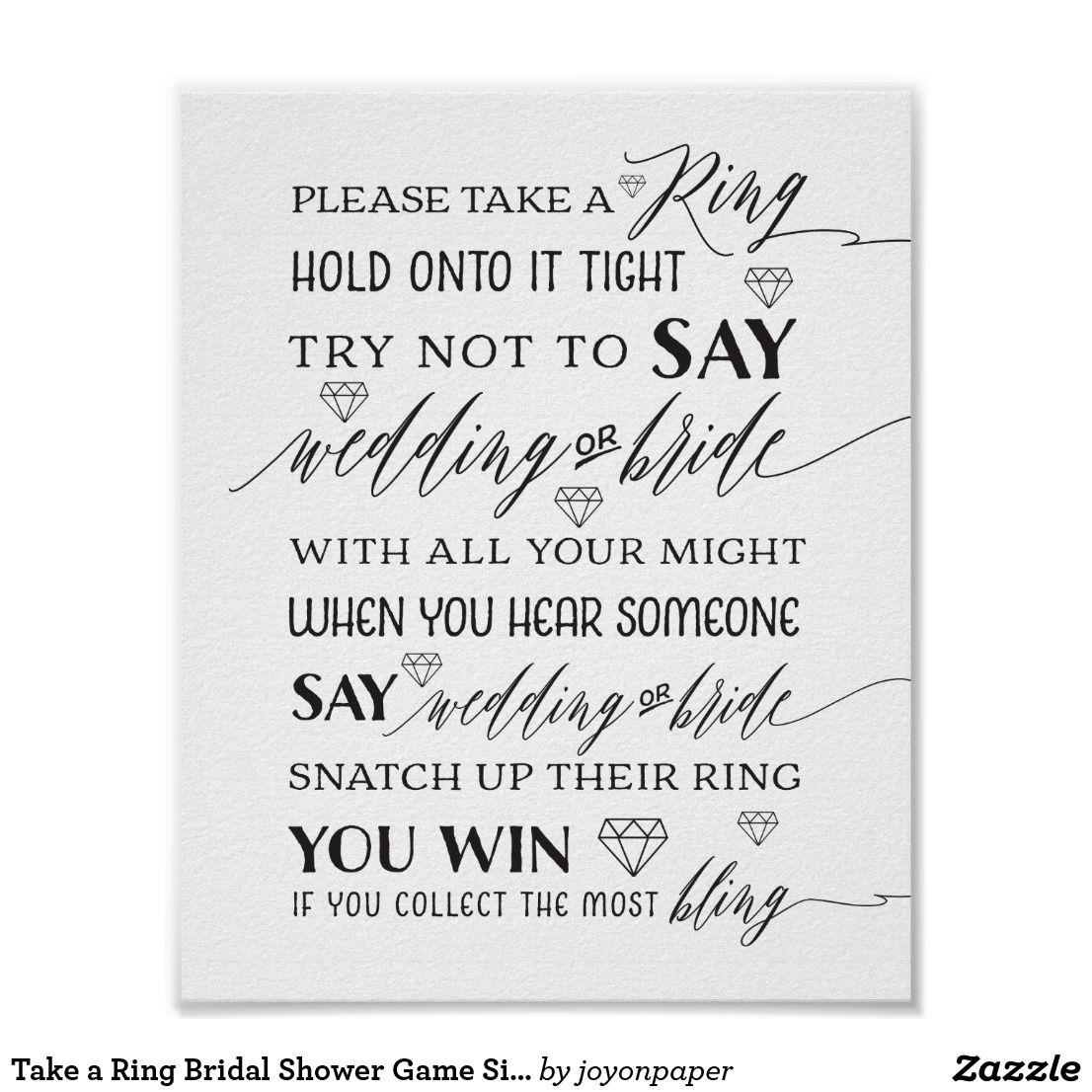 take a ring bridal shower game sign