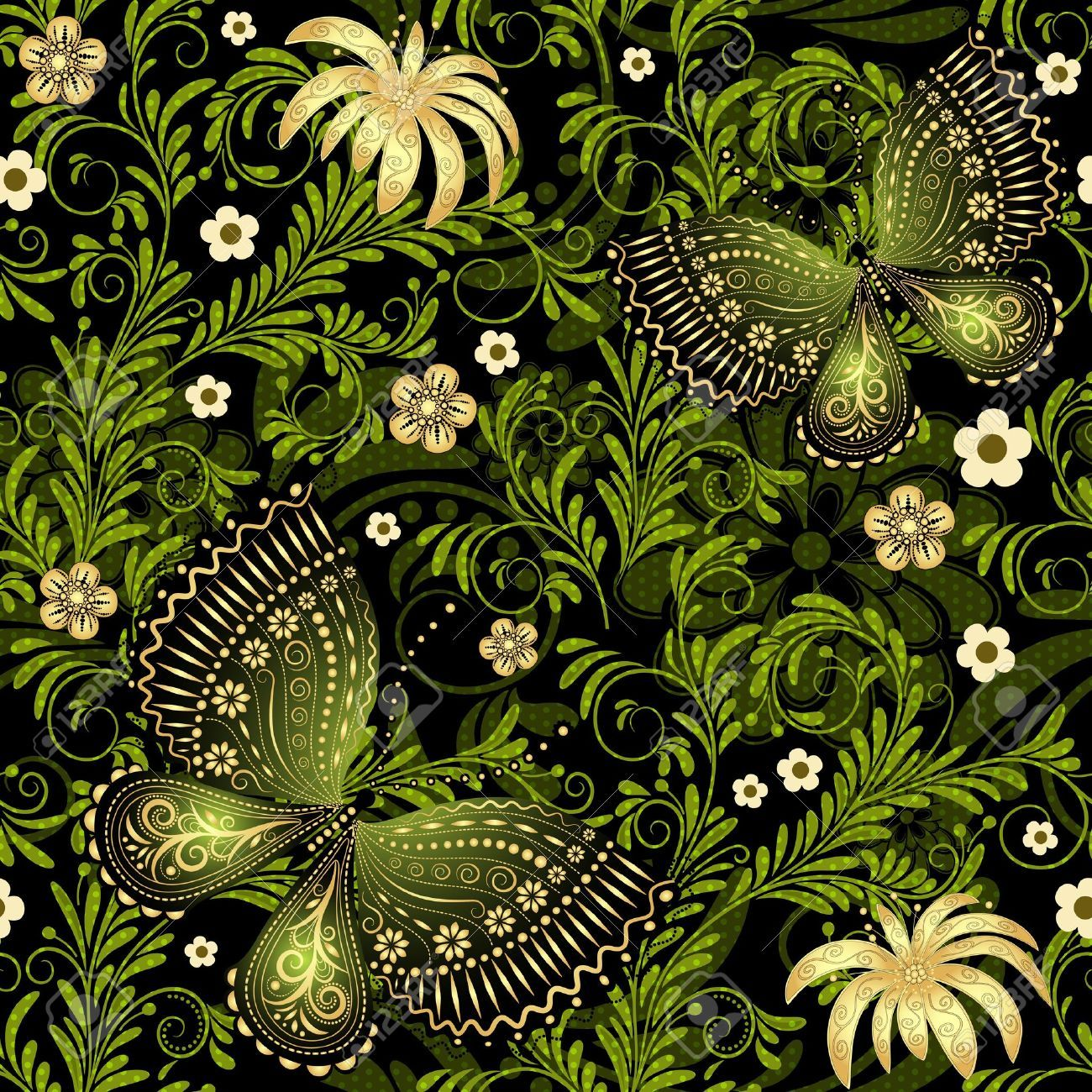 Springdarkandgreenseamlesspatternwithgoldflowers