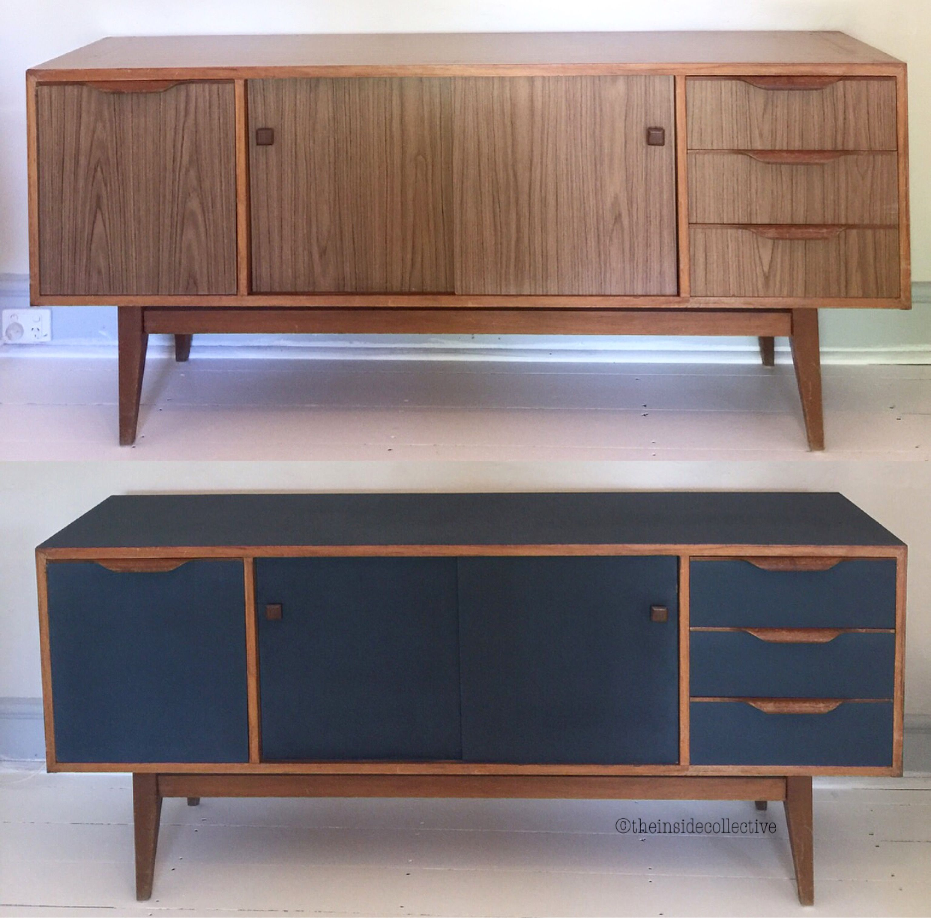 Before And After Retro Sideboard Chalk Paint Navy Sideboard Furniture Renovation Retro Sideboard Retro Furniture