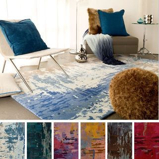 Hand Tufted Lucas Abstract New Zealand Wool Area Rug (5u0027 X 8u0027) (Blue (5u0027 X  8u0027)), Blue, Size 5u0027 X 8u0027