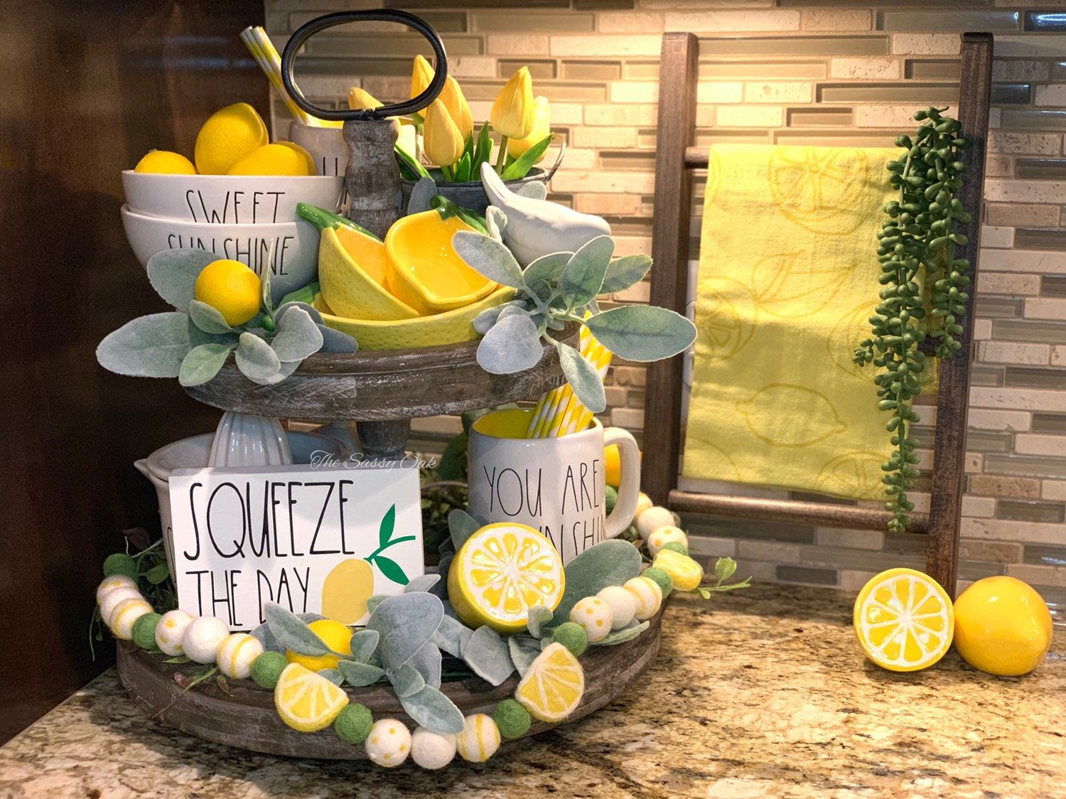 Tiered tray sign Squeeze the day sign tray sign Rae Dunn