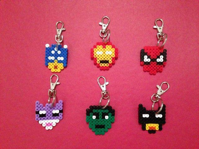 Hama Bead 'Super Hero' Themed Keyrings - The Supermums Craft Fair