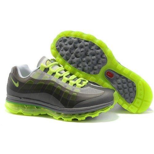 Nike Air Max 95 + 360 Grey/Volt Men Running Shoes 1005 $70