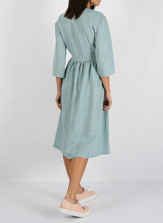 e0449a88e17 Turquoise wrap linen dress  Natural Linen Dress Long Kimono Dress with belt Summer  Dress Turquoise M