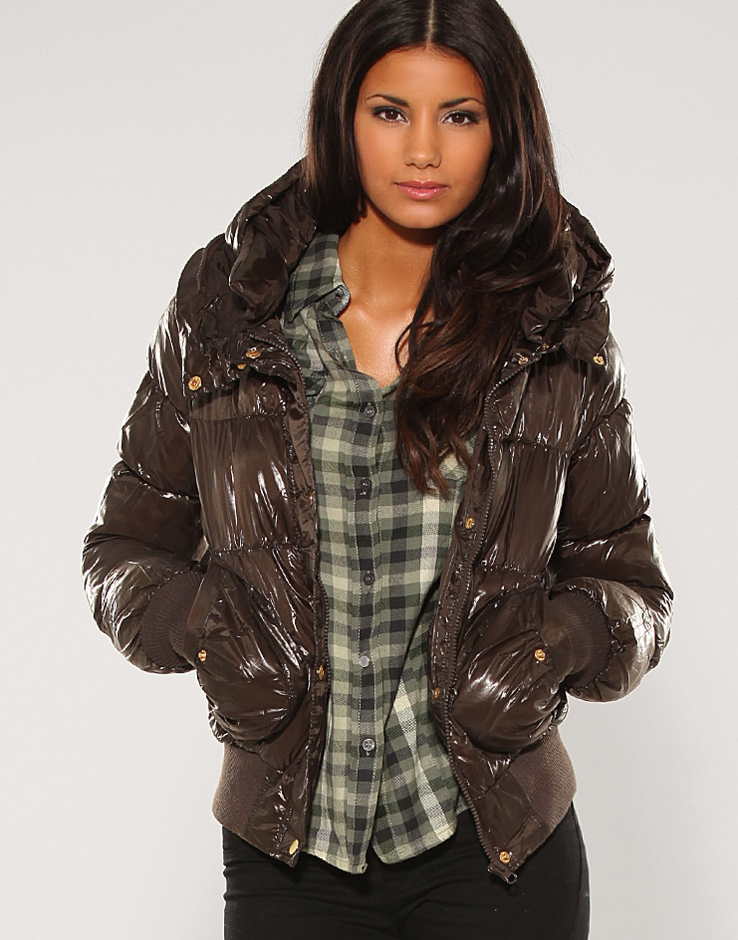 21296ce5fc84 Brown hooded Vero Moda down jacket   Nylons   Jackets, Puffy jacket und Coat