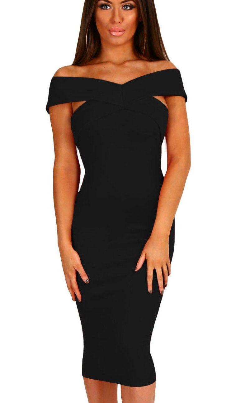 aefef3b6bc0 Off Shoulder Slim Fit Midi Little Black Dress   Little black dresses ...