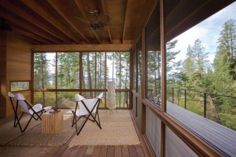 maison en bois baie vitree