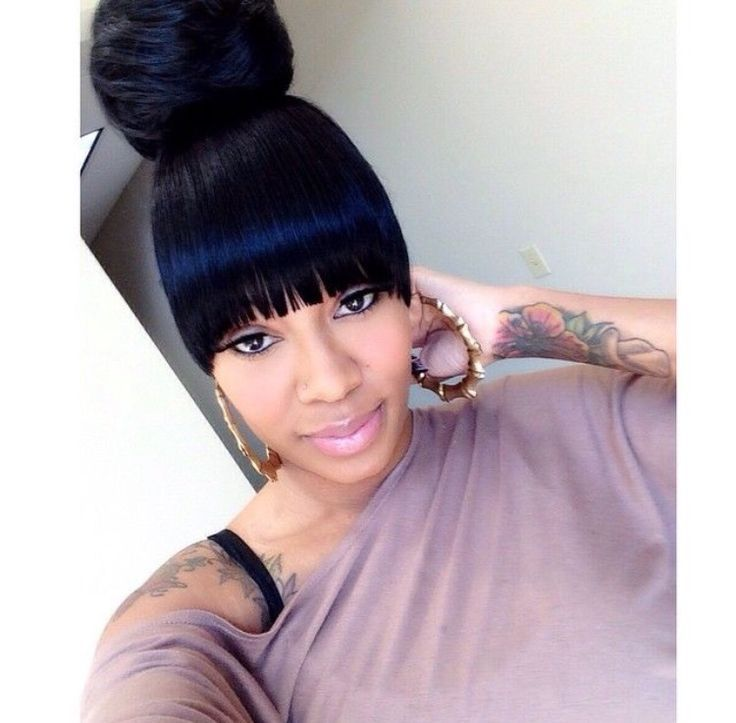 Black Ponytail Hairstyles With Bangs