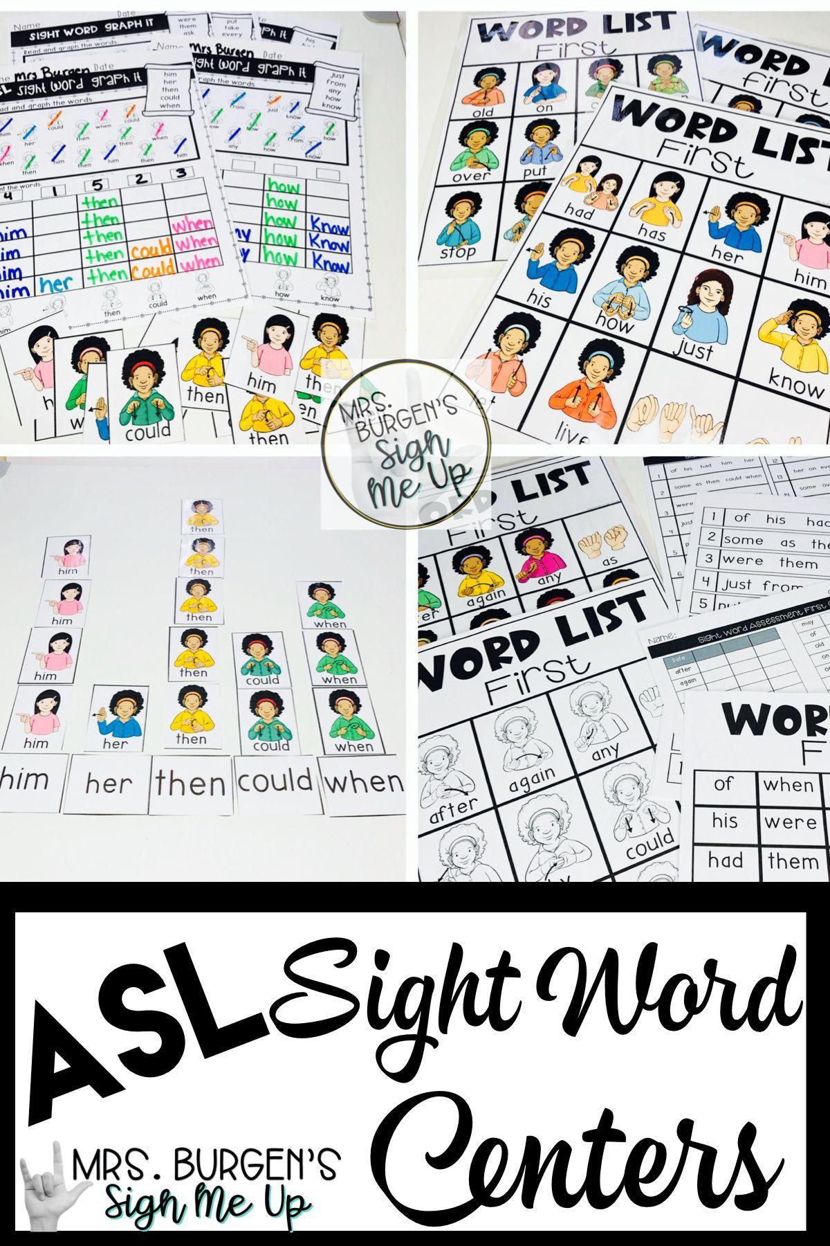 Asl Sight Word Centers First Grade Bundle