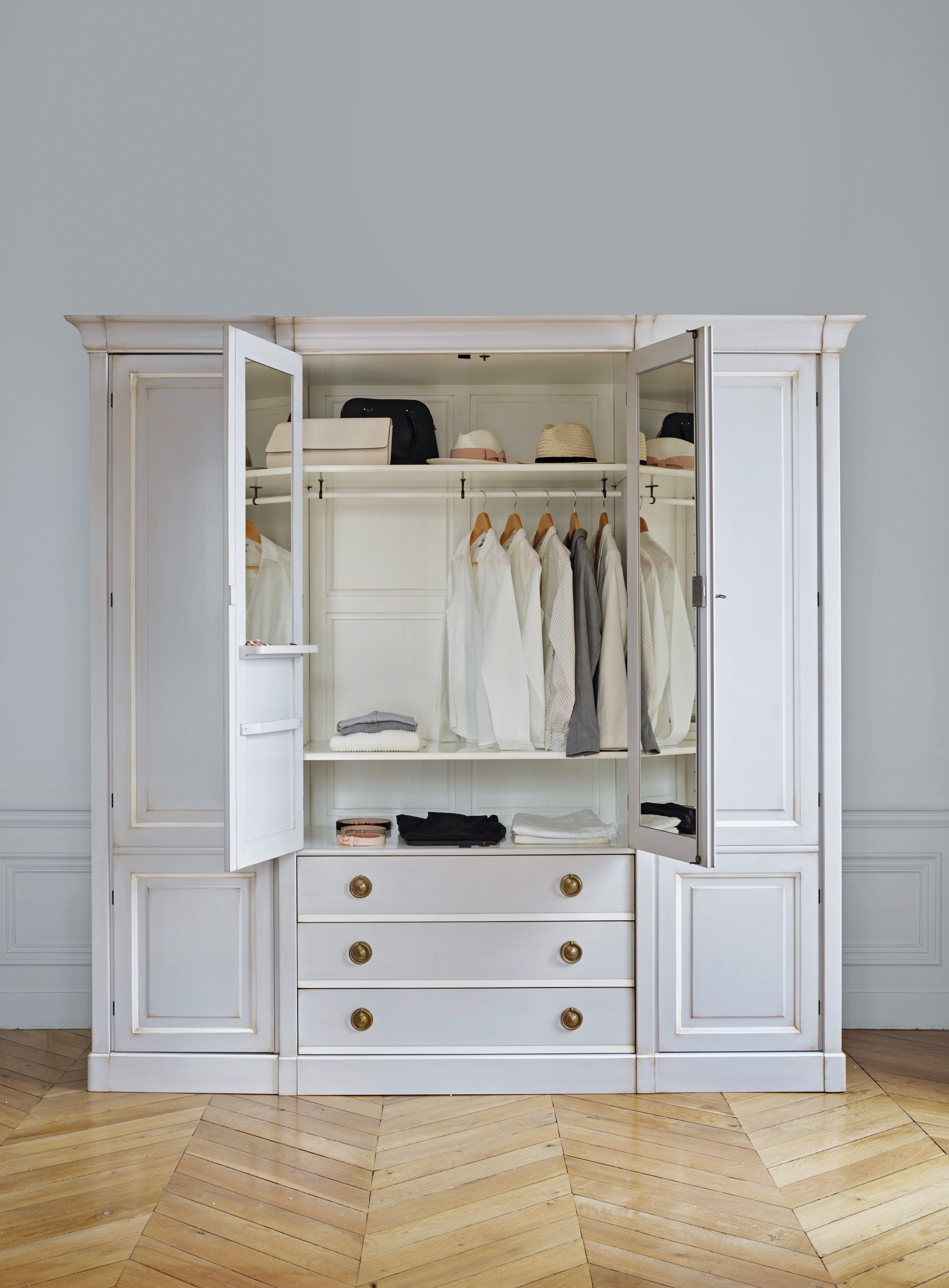 kledingkast - wit houten kledingkast - kledingkast ideeën ...