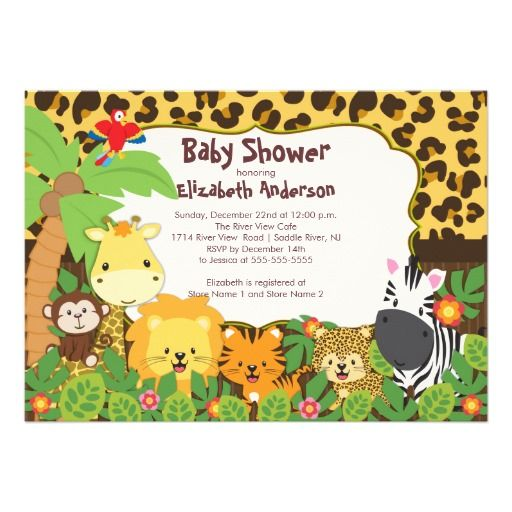 Cute safari jungle animals baby shower invitations shower cute safari jungle animals baby shower invitations filmwisefo