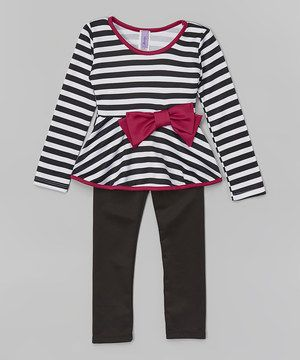 Another great find on #zulily! Black & Pink Stripe Bow Tunic & Leggings - Girls by Maya Fashion #zulilyfinds