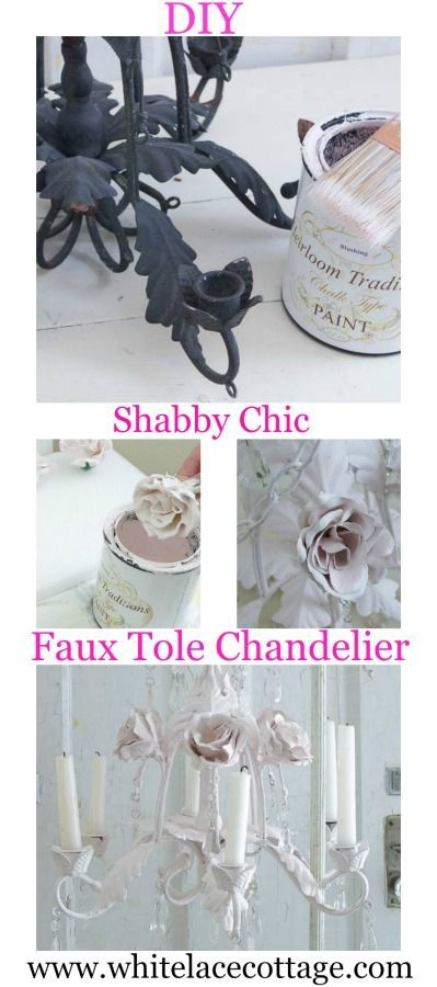 DIY Shabby Tole Chandelier - White Lace Cottage