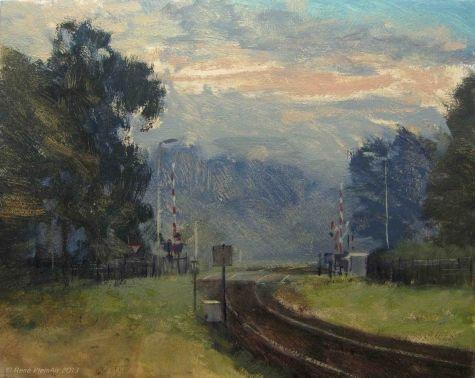 Vroege vogels halen de trein. Doetinchem, Holland, painting by artist Rene PleinAir