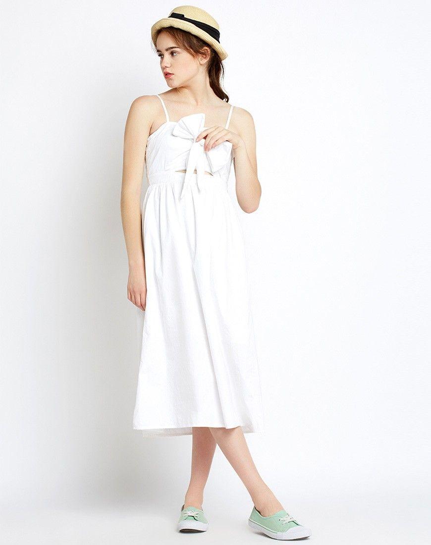 3b147ed28f1 White Helen  Knotted  CutOut  Midi  Dress  women  fashion  style ...