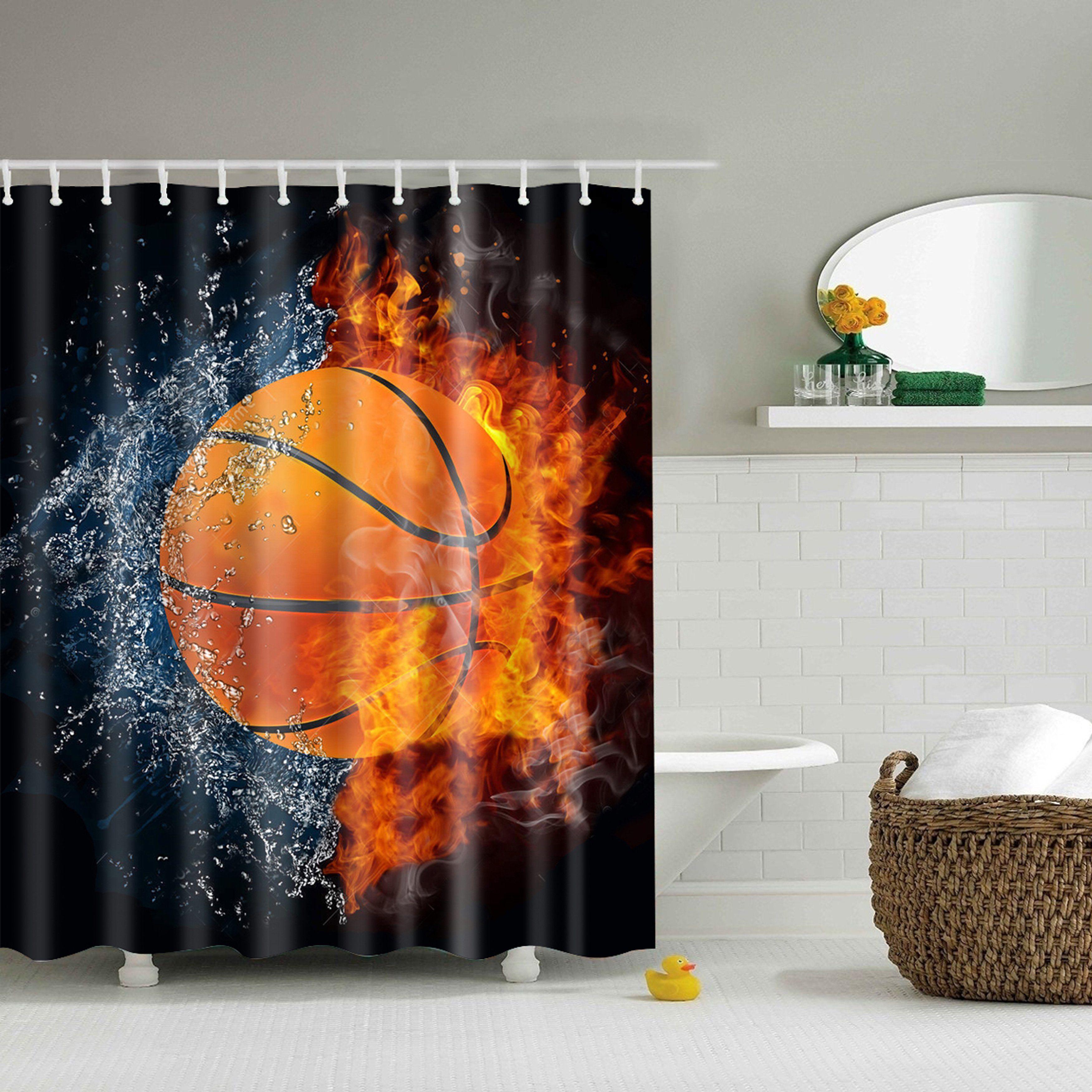 Ice And Fire Basketball Shower Curtain Bathroom Decor Basketball