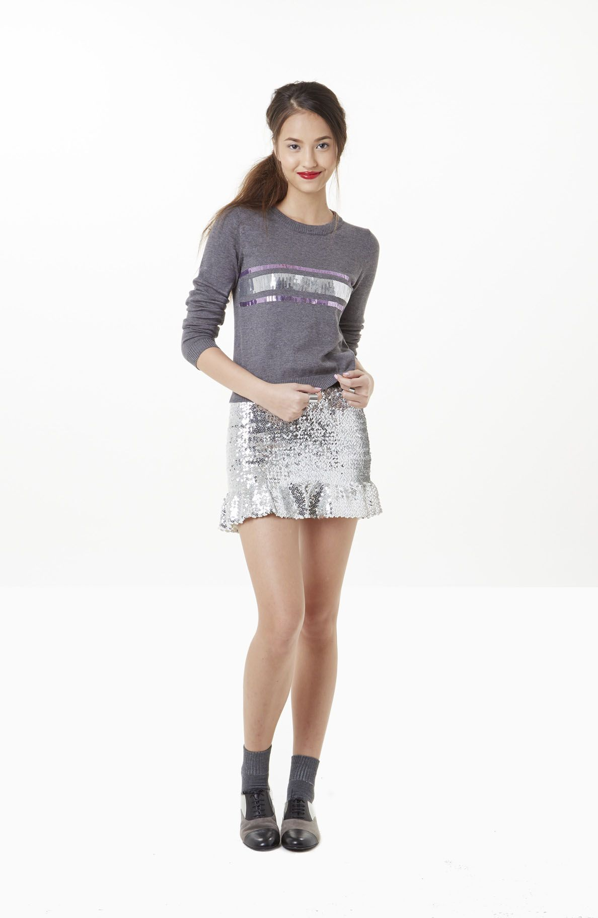 Sequin ribbon sweater [5PPPS14002]  Super soft cotton sweater knit to take you from day to night in glamorous comfort.