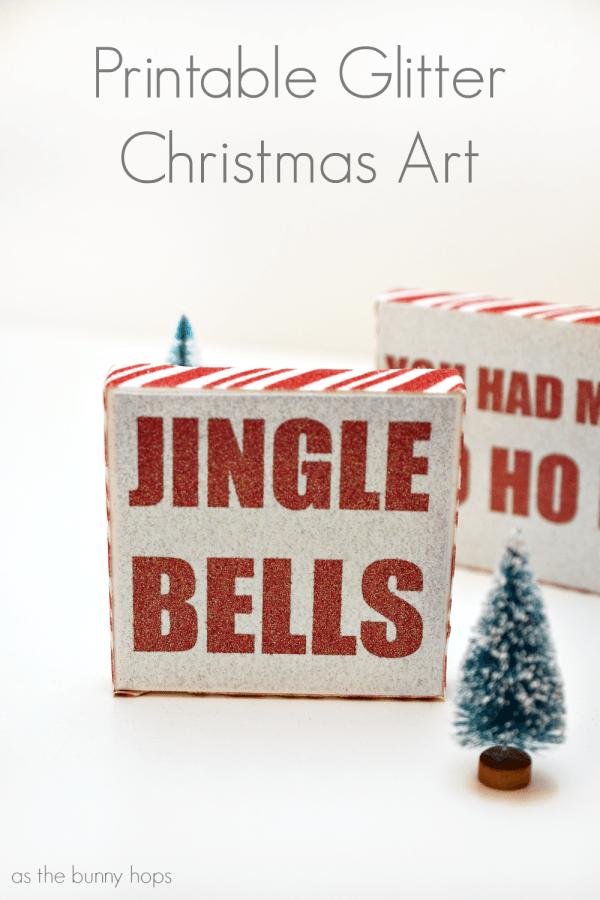 Printable Glitter Christmas Art @coredinations #InkjetGlitter AD