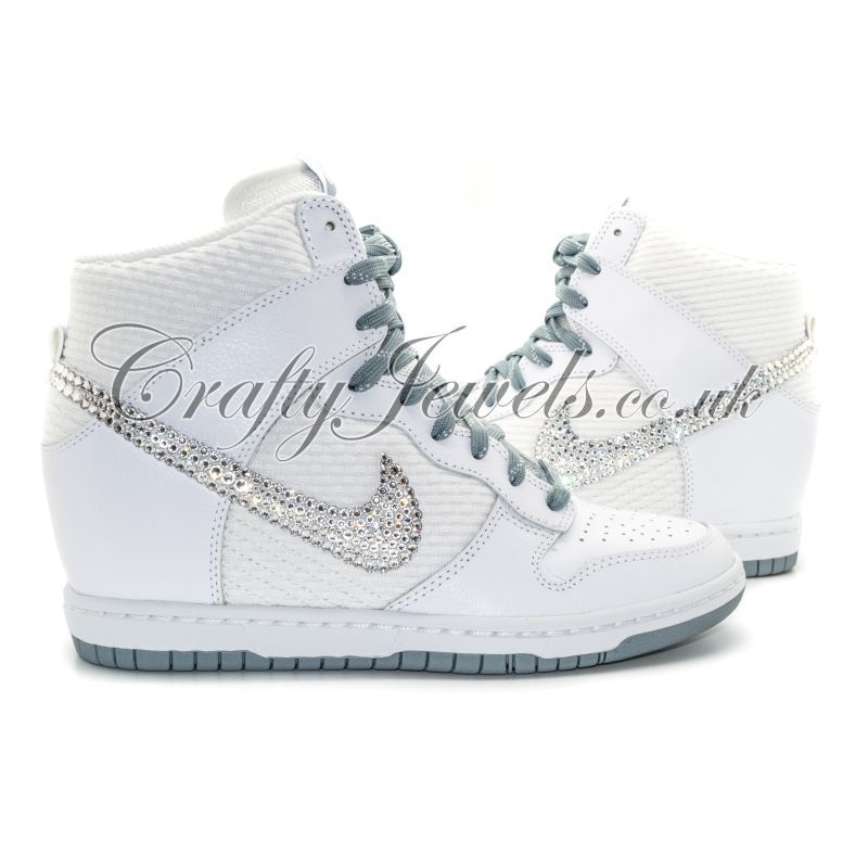 Nike Bridal Swarovski Crystal Dunk Sky Hi Wedge Sneaker In White - Google  Search 3adb7ace0
