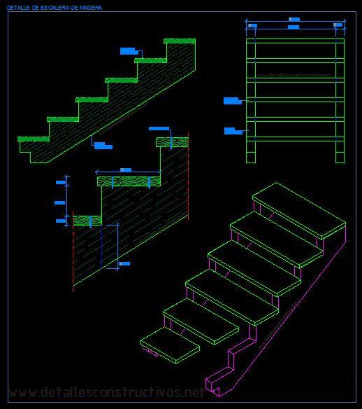 Detalles constructivos en dwg for Plano escalera madera